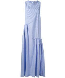 P.A.R.O.S.H. | P.A.R.O.S.H. Pleated Trim Striped Long Dress Size Medium
