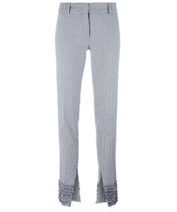 Cédric Charlier | Houndstooth Pattern Slim-Fit Trousers 40 Cotton/Rayon