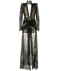 Alessandra Rich | Long-Sleeve Lace Gown 42 Viscose Fibre/Polyamide/Spandex/Elastane