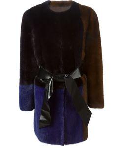 Blancha   Colour Block Belt Coat