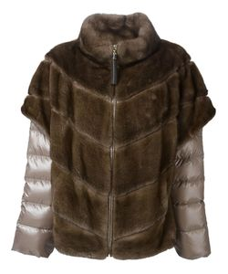 Liska | Layered Padded Fur Jacket 46 Mink Fur/Polyester/Goose