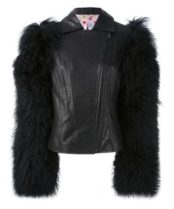 Charlotte Simone | Shearling Sleeve Biker Jacket S/M Leather/Lamb