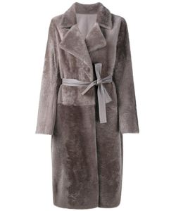 Yves Salomon | Belted Shearling Coat 38 Lamb Fur/Lamb