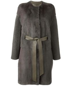 Liska   Belted Coat Medium Lamb Skin/Lamb Fur/Mink Fur