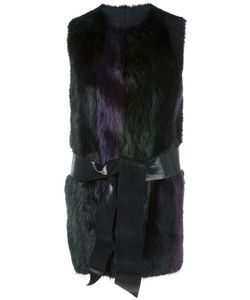 Blancha | Sleeveless Striped Jacket 42 Sheep Skin/Shearling/Beaver Fur/Cupro/Polyurethane