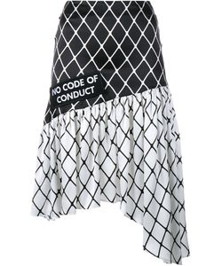 Ashley Williams | Fishnet Print Asymmetric Silk Skirt