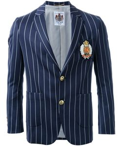 Education From Youngmachines | Pinstriped Insignia Applique Single Breasted Blazer