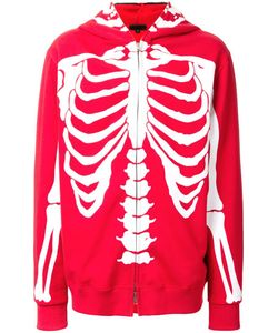 99 Is | 99 Is Skeleton Print Zipped Hoodie 2 Cotton
