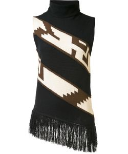 Ralph Lauren Collection | Fringed Knit Blouse Medium Nylon/Cashmere