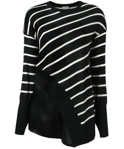 Nude | Striped Asymmetric Knit Blouse 40 Wool/Silk