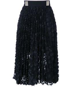 Carven | Eyelet Pleated Skirt 42 Polyester