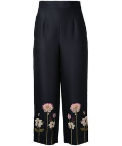 Vilshenko   Embroidered Flower Cropped Trousers Size 10