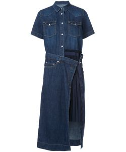 Sacai | Denim Pleated Panel Shirt Dress Women