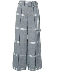 Suno | Plaid Cropped Trousers 0 Linen/Flax/Cotton
