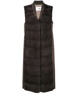Manzoni 24 | Sleeveless Quilted Long Jacket Mink