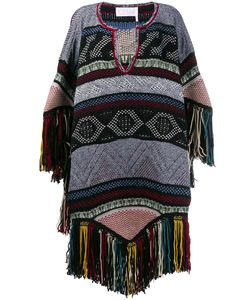 Chloé | Embroidered Knitted Poncho 38 Wool/Mohair/Cashmere/Polyamide
