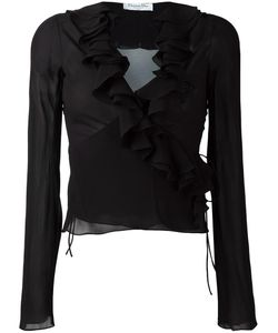 Christian Dior Vintage | Ruffle Trim Sheer Blouse 36