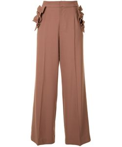 Muveil | Ruffled Detailing Flared Trousers 38