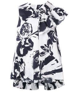 Cédric Charlier | Abstract Print Ruffled Blouse Size 42 Cotton/Other