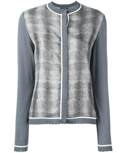 Salvatore Ferragamo | Striped Snake Effect Cardigan Small Silk/Cotton