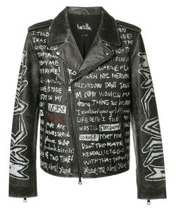 Haculla | Text Print Biker Jacket Xl