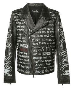 Haculla | Text Print Biker Jacket Xl