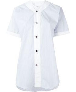Carolina Ritzler | Pinstriped Short Sleeve Button Down Shirt