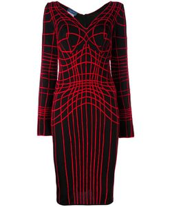 Thierry Mugler Vintage | Web Embroidered Fitted Dress Large