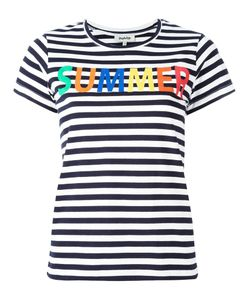Yazbukey | Summer Print Striped T-Shirt Large Cotton