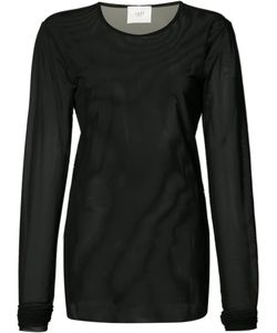 Just Female | Longsleeved Sheer T-Shirt Large Polyester/Spandex/Elastane