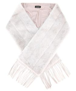 Yves Salomon | Stripe Detail Fringed Scarf Mink Fur/Lamb Skin/Silk