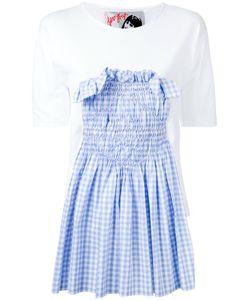 Jenny Fax   Smocked Gingham Insert T-Shirt Size Medium