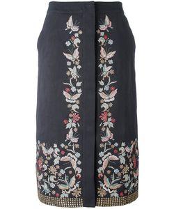 Vilshenko   Embroide Midi Skirt 10 Cotton/Linen/Flax/Acetate/Cupro