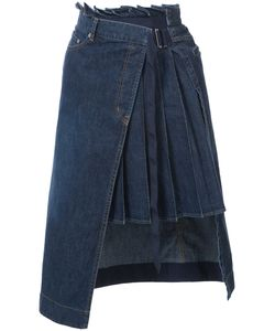 Sacai | Denim Pleated Panel Wrap Skirt
