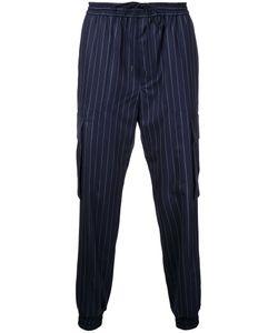 Juun.J   Pin Striped Track Pants 48 Wool