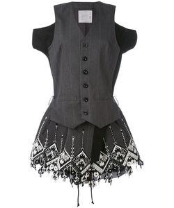 Sacai | Embroidered Pinstriped Dress