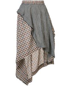 Hache   Asymmetric Plaid Skirt 42