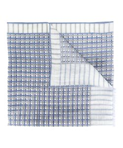 Canali   Grid Pattern Scarf Cotton/Linen/Flax