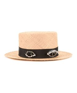 Muveil | Embellished Band Boater Hat