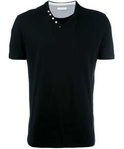 Paolo Pecora | Buttoned V-Neck T-Shirt Small Cotton