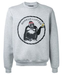 Markus Lupfer | Embroidered Gorilla Logo Sweatshirt Size Medium
