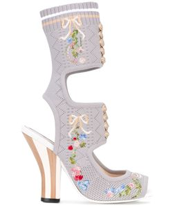 Fendi | Embroidered Knit Sandals