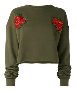 Each X Other | Rose Embroidered Cropped Sweatshirt