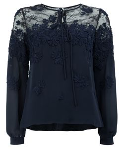 Oscar de la Renta | Embroidered Lace Panel Blouse Size
