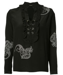 Dodo Bar Or | Front Lace-Up Detail Blouse