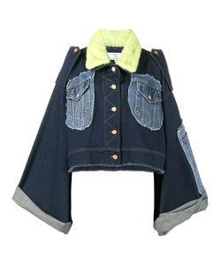 Natasha Zinko   Mink Fur Collar Patchwork Denim Jacket Size 40