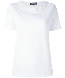 Salvatore Ferragamo | Embellished Collar T-Shirt Small Cotton