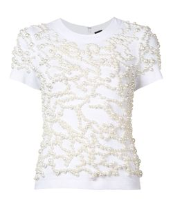 Vera Wang | Embroidered Pearls T-Shirt Size Xs