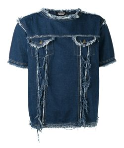 Andrea Crews | Frayed Denim T-Shirt Small