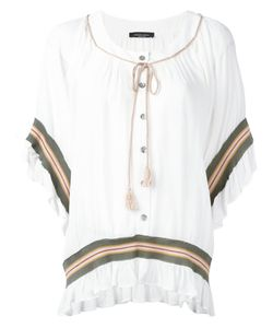 Roberto Collina | Striped Embroidered Blouse Size Small